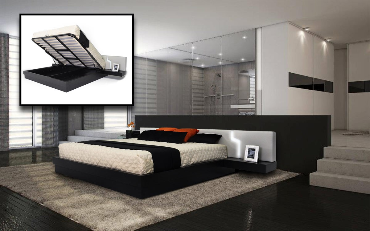 Use Wide Modern Bed Frames and Floating Side Tables on Grey Carpet and Dark Hardwood Flooring