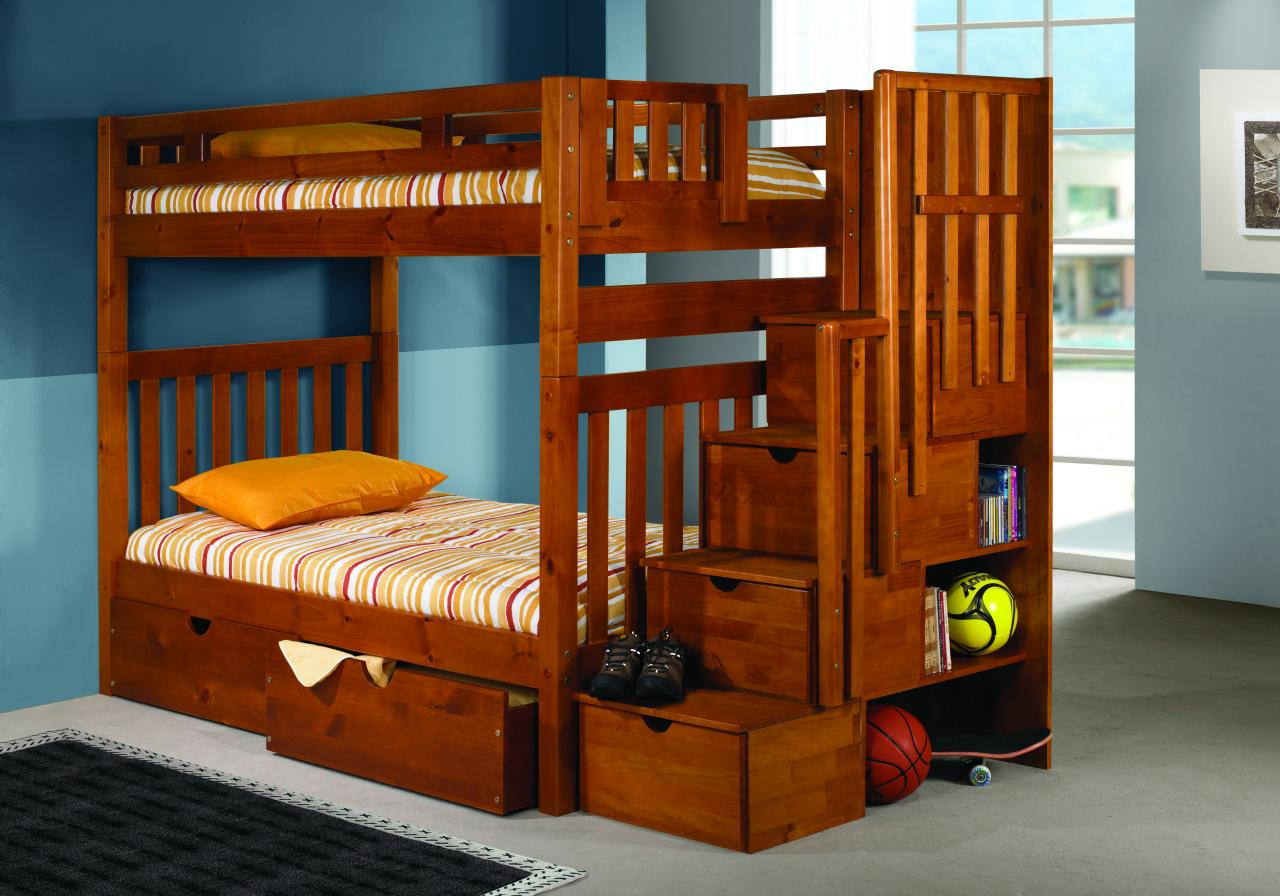 Use Wooden Bunk Beds with Side Shelvess and Drawers for Small Kids Bedroom with Grey Flooring