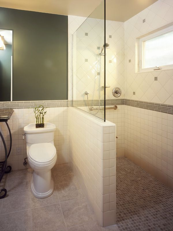 Usual Tile Wall Accent and Small Window plus Big Mirror