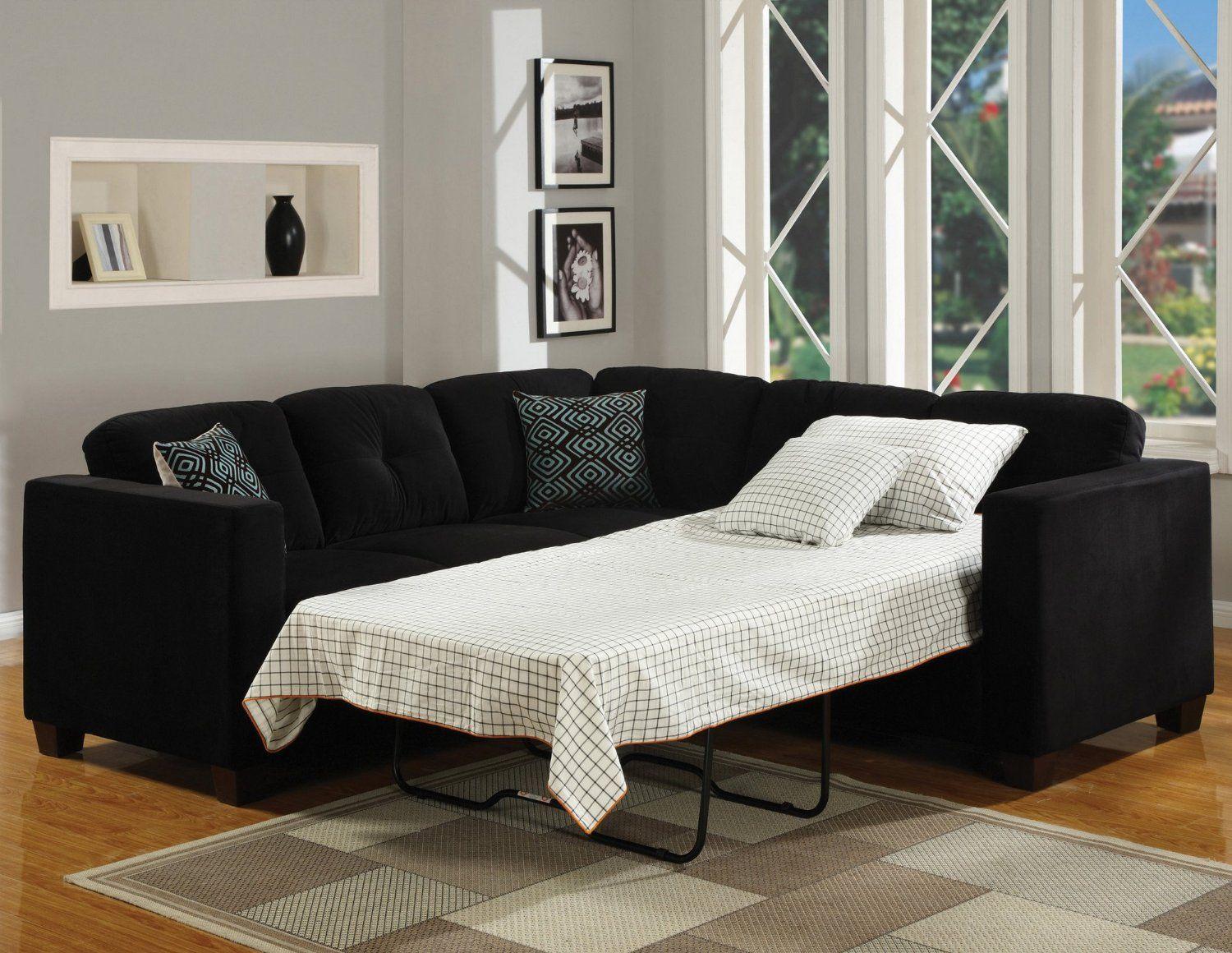 White Bedding on Dark Sofa Bed Mattress for Old Fashioned Living Room with Grey Sofa