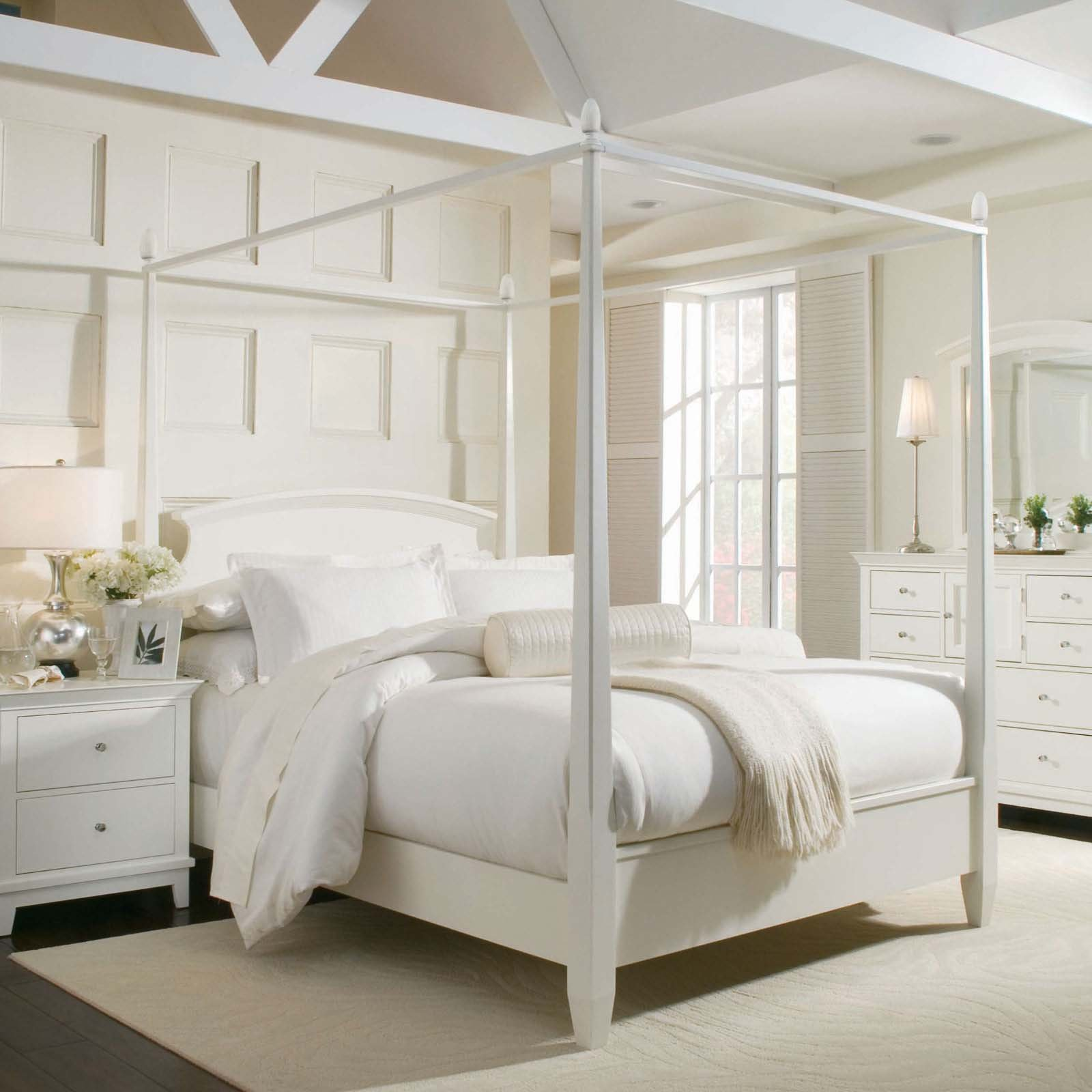 White Dressers and Canopy Bedroom Sets inside Stunning Bedroom with Wide Carpet and Wooden Flooring
