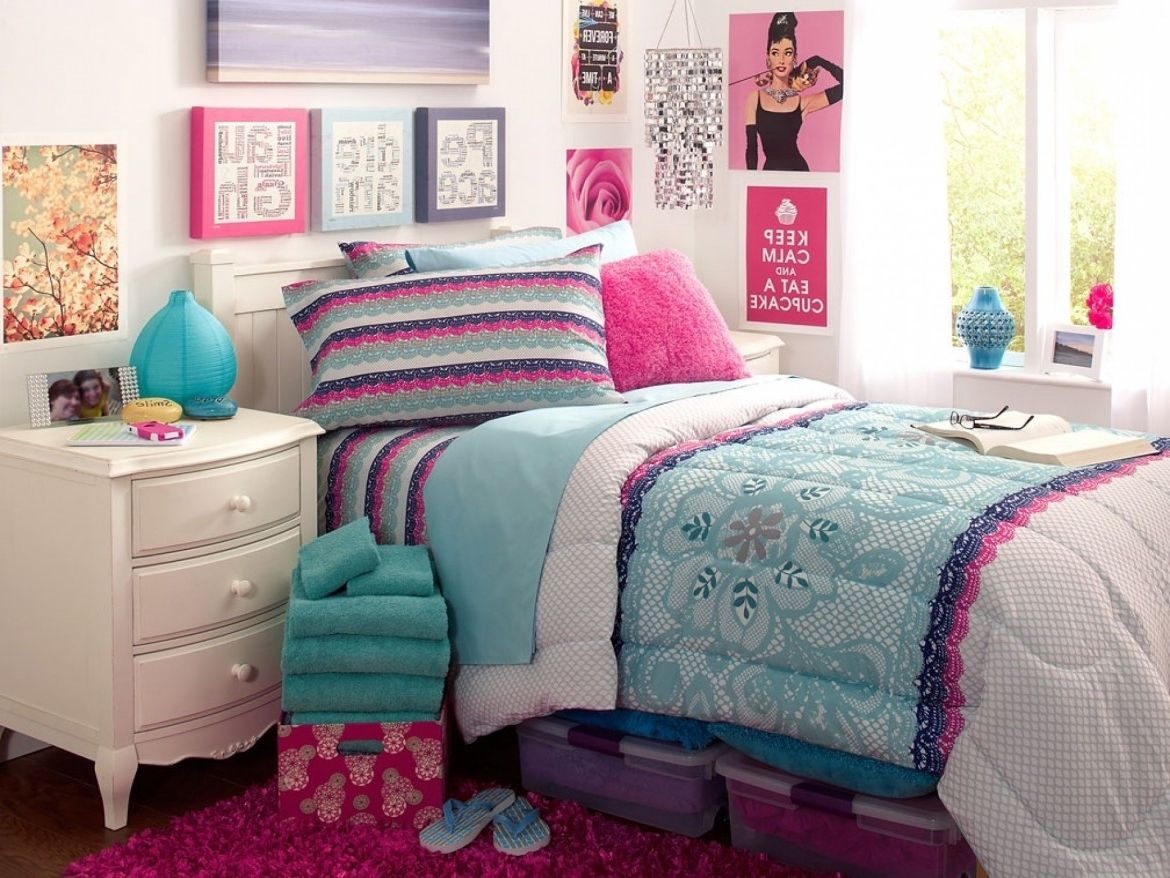 White Nightstand and Fluffy Bed Completing Beautiful Teen Girl Room Ideas with Pink Carpet Rug