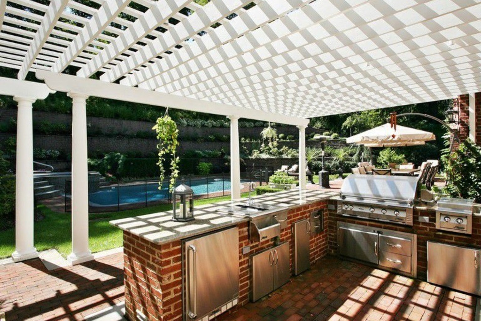 White Pergola above Brick Counter and Barbeque Set in Stunning Outdoor Kitchen Plans with Brick Flooring