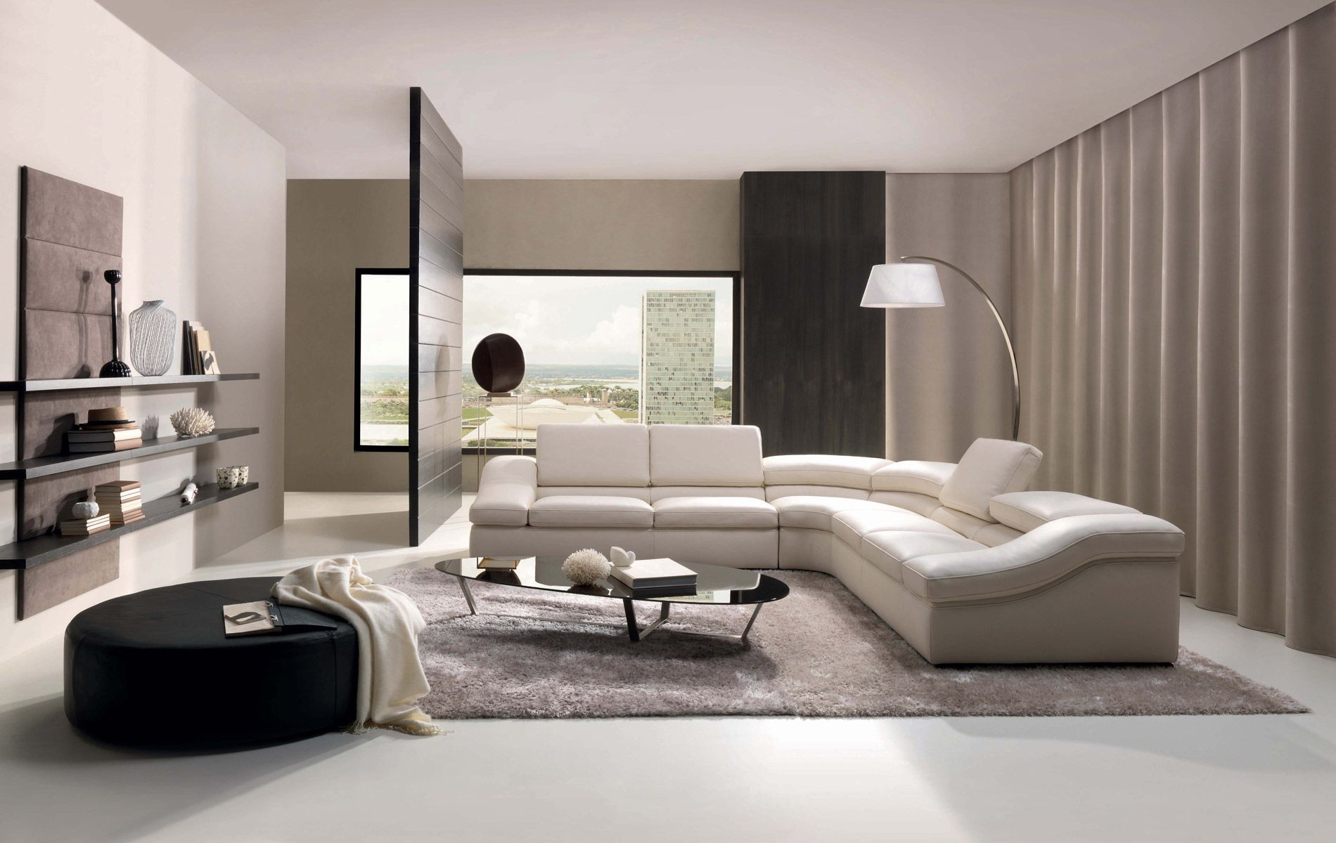 White Sectional Sofa and Wide Black Ottoman near Fascinating Living Room Floor Lamps