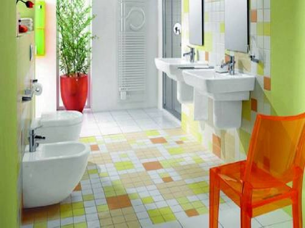 Kids bathroom designs 2016 - White Sinks And Orange Acrylic Chair As Unique Kids Bathroom Sets On Colorful Tile Flooring