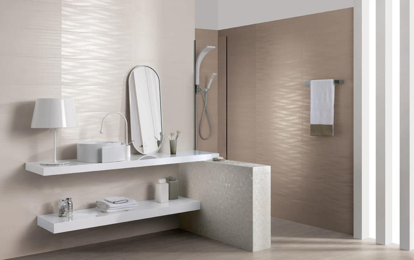 White Table Lamp And Sink Completing Floating Vanity In Stylish Bathroom  Using Appealing Bathroom Wall Tile