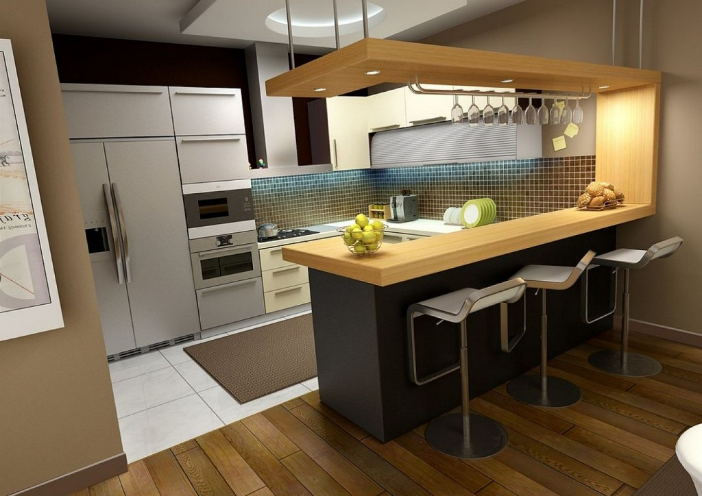 White Tile Flooring and Hardwood Flooring Completing Small Kitchen Design with White Cabinets
