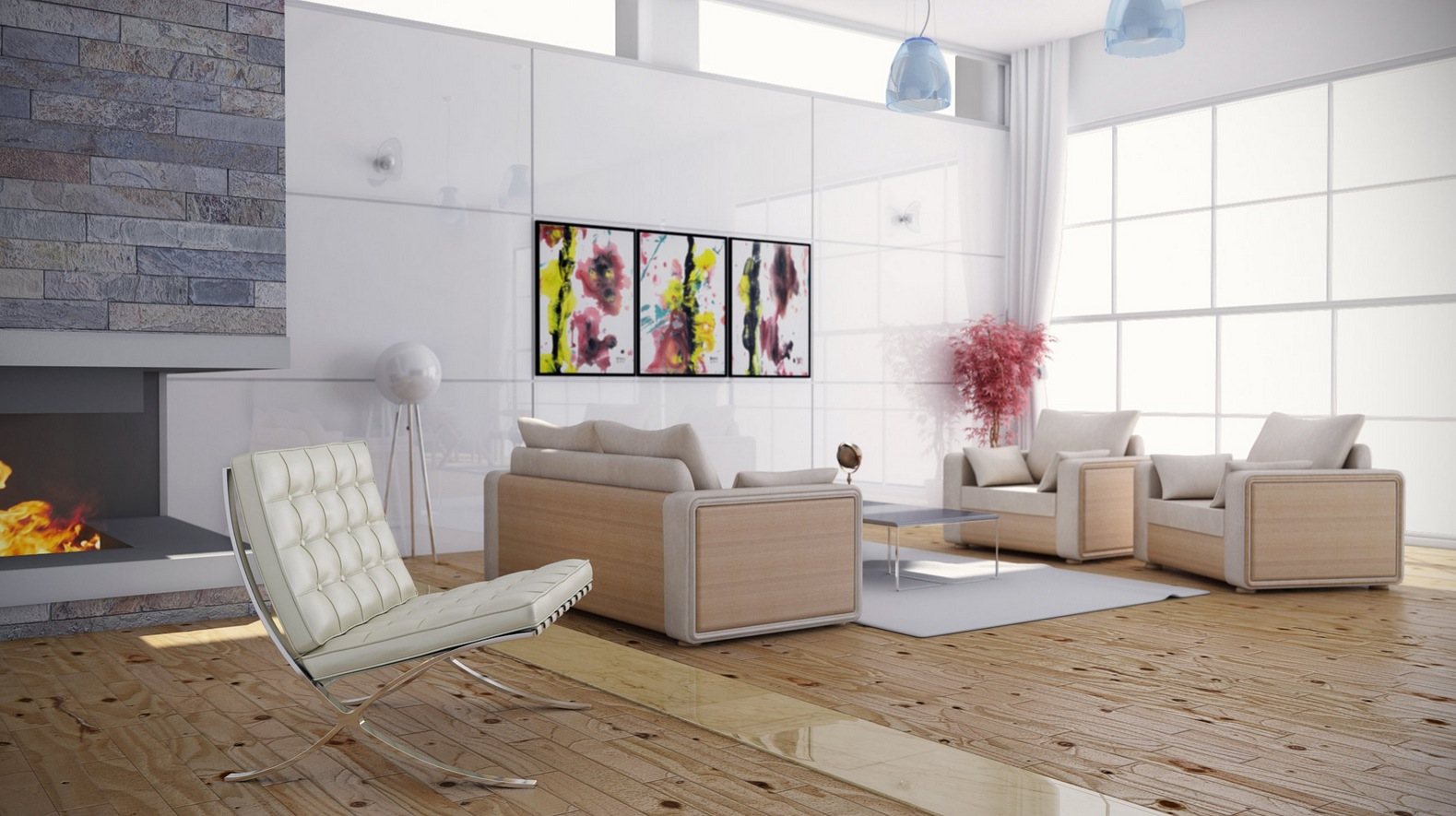 White Tufted Chair and Modern Sofas for Wonderful Living Room Color Schemes with Hardwood Flooring