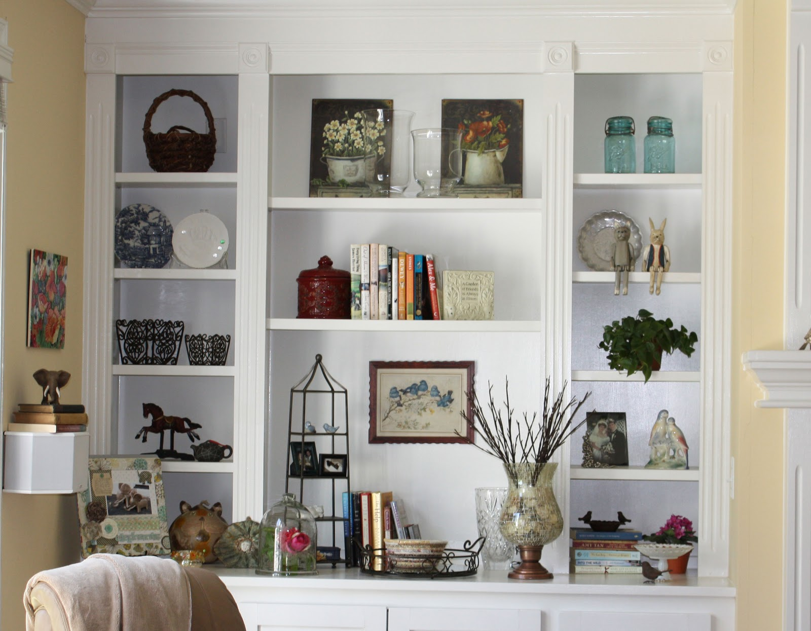 White wall shelves for effective storage in small kitchen - Shelves design for living room ...