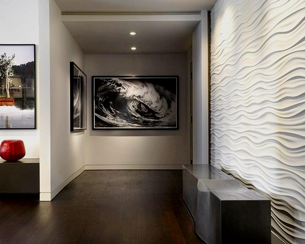 White Wavy Decorative Wall Panels for Awesome Hallway with Artistic Wall Paintings on White Painted Wall