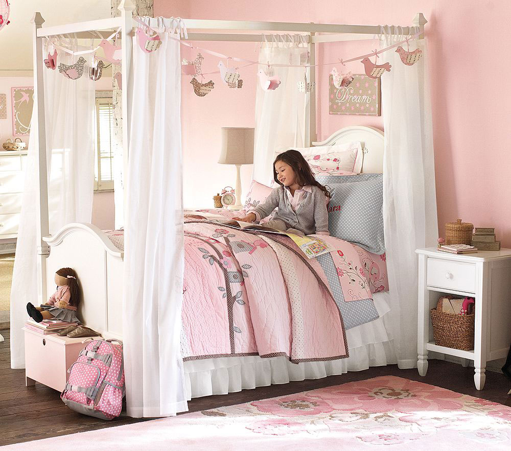 How to make girls canopy bed in princess theme midcityeast for Girls bedroom furniture white