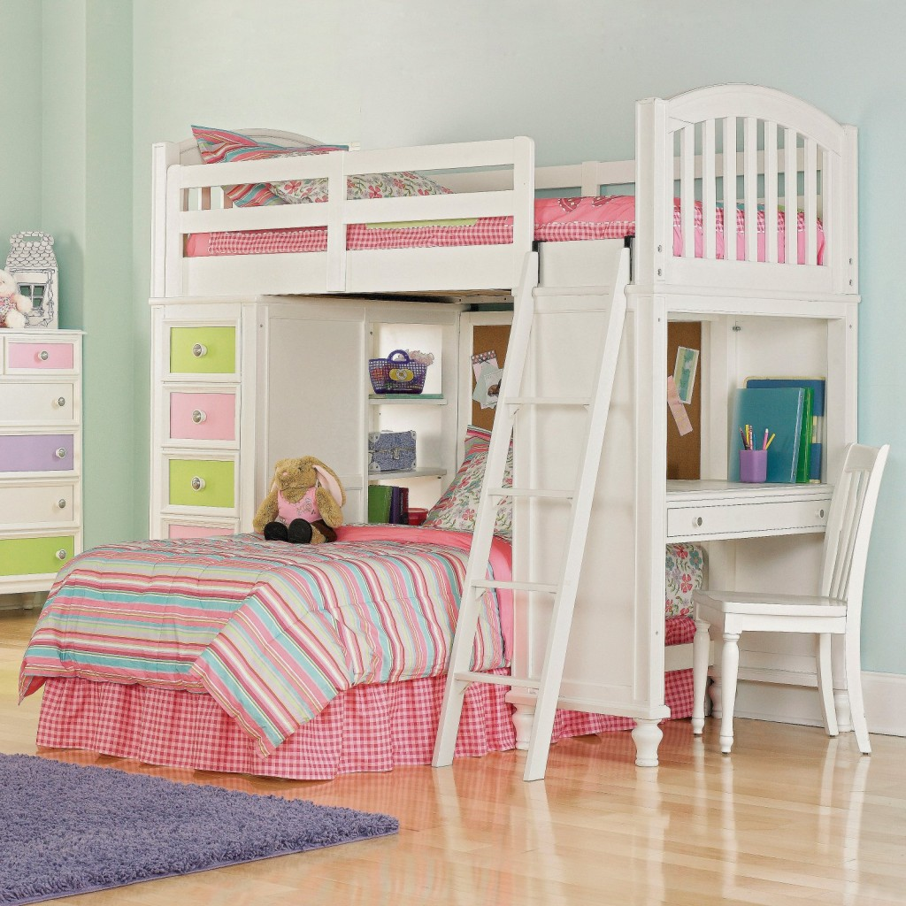 White and Pink Design Girl Bunk Beds