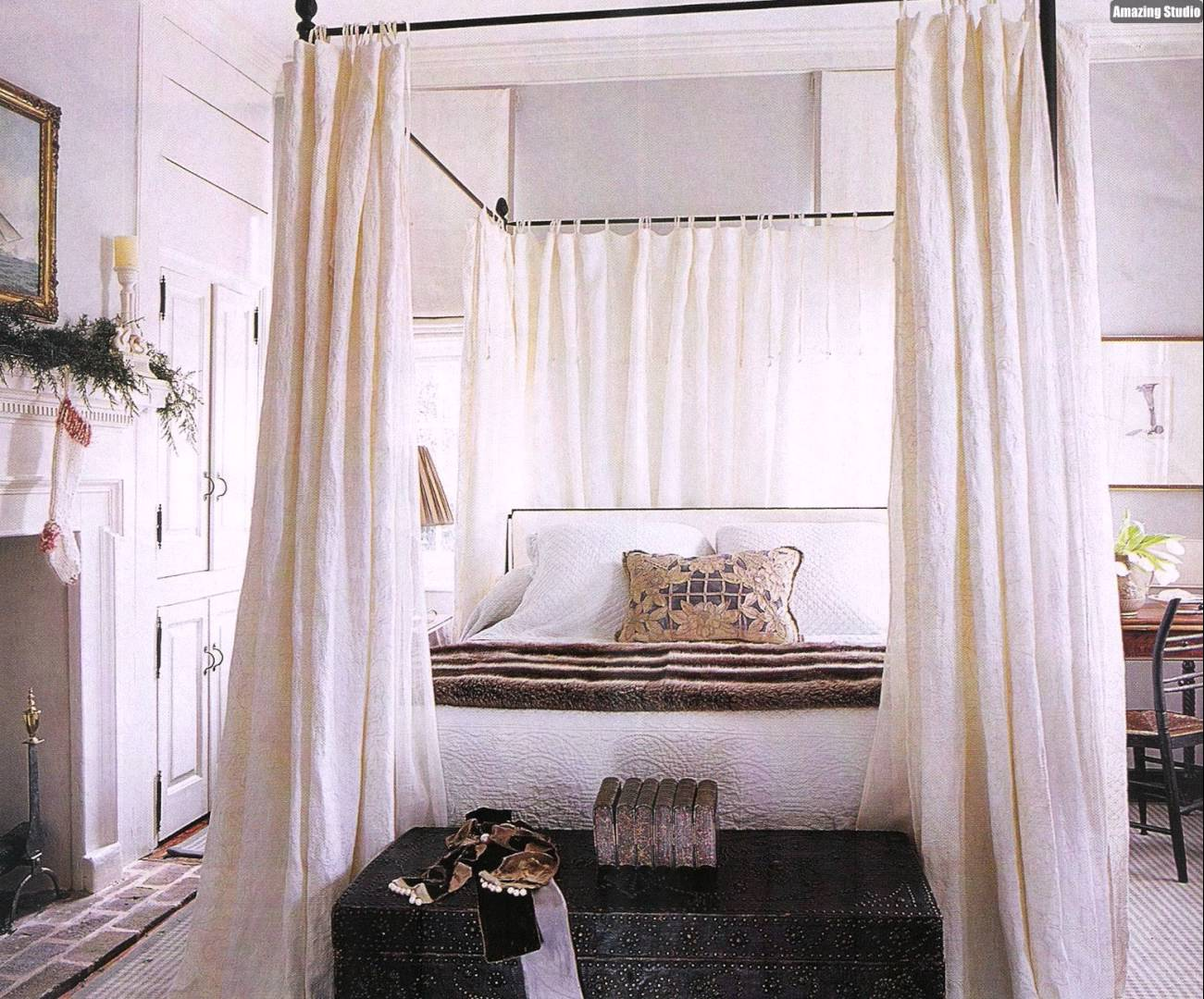 Wide Fireplace and DIY Canopy Bed for Traditional Bedroom with Wooden Table and Chair & DIY Canopy Bed from PVC Pipes - MidCityEast