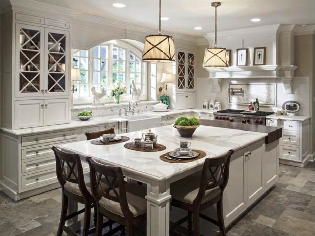 Wide Kitchen Islands with Seating and Marble Top Placed near Long