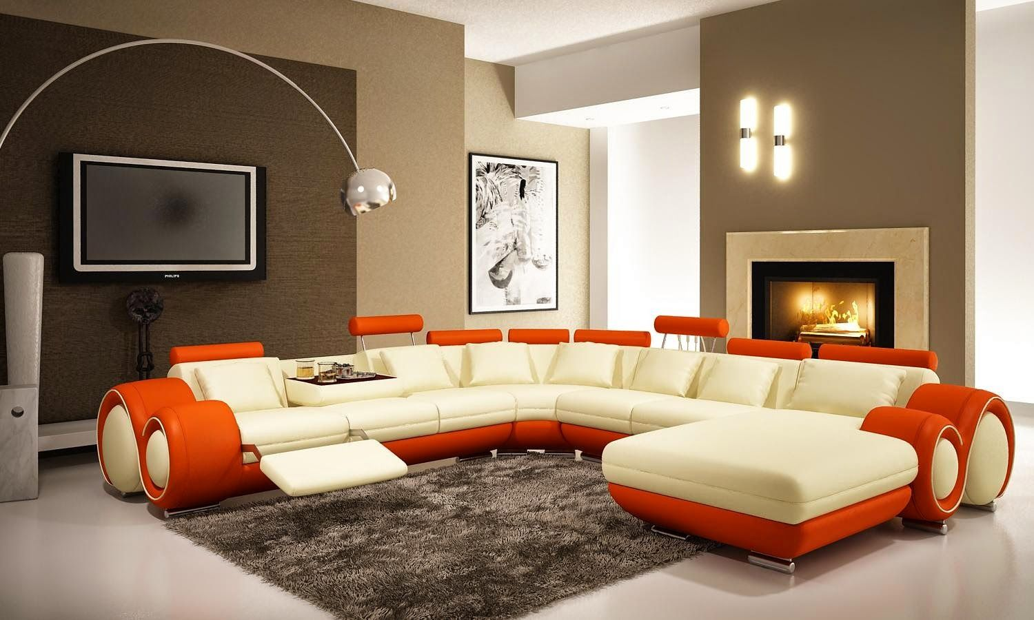 Wide Open Living Room Using Brilliant Home Improvement Ideas with Modern Sofa Chaise and Arc Lamp