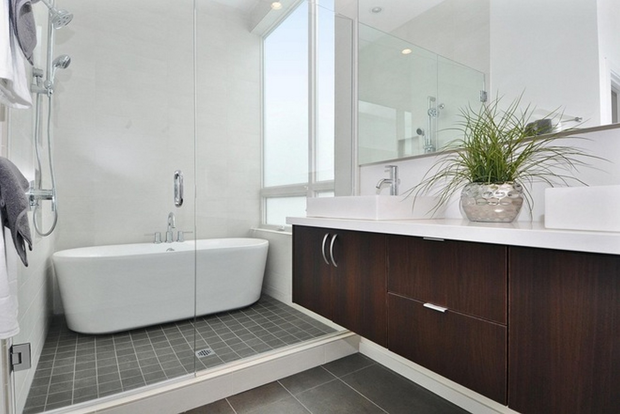 Wide Walk in Shower Ideas with White Bathtub and Glass Door for Small Bathroom