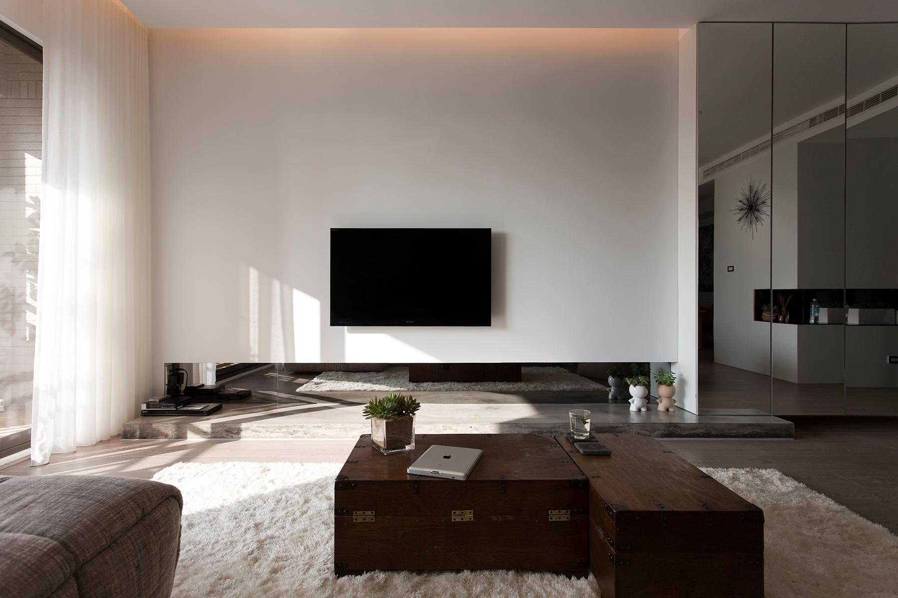 Wide White Carpet Rug Placed under Grey Sofa and Wooden Briefcase Tables for Contemporary Living Room