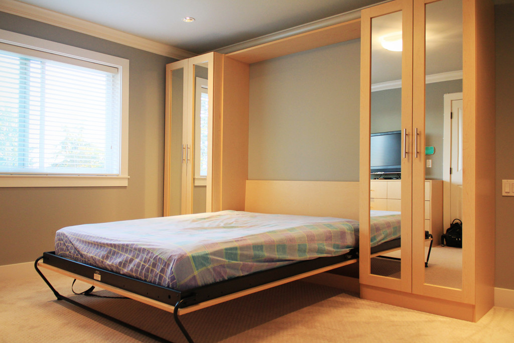 Wide Wooden Bed using Space Saving Furniture Ideas for Simple Bedroom with High Wardrobe Cabinets