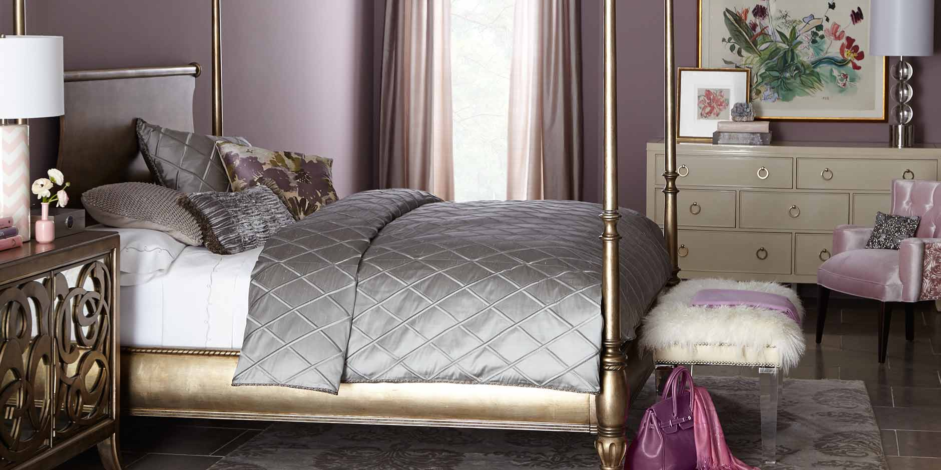 Wonderful Bedroom Completed with Grey Bedding and King Canopy Bed near White Dresser and Tufted Chair