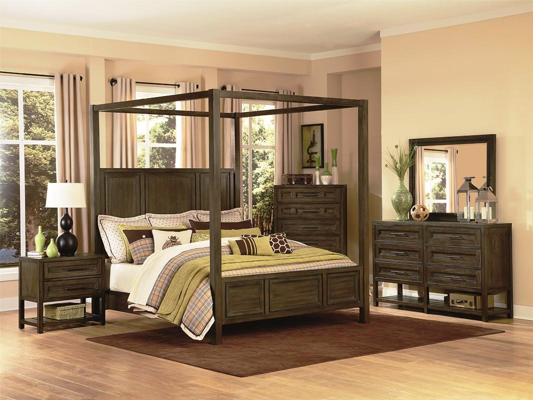 Wonderful Canopy Bedroom Sets for Wood Material inside Traditional Bedroom with Brown Carpet on Oak Flooring