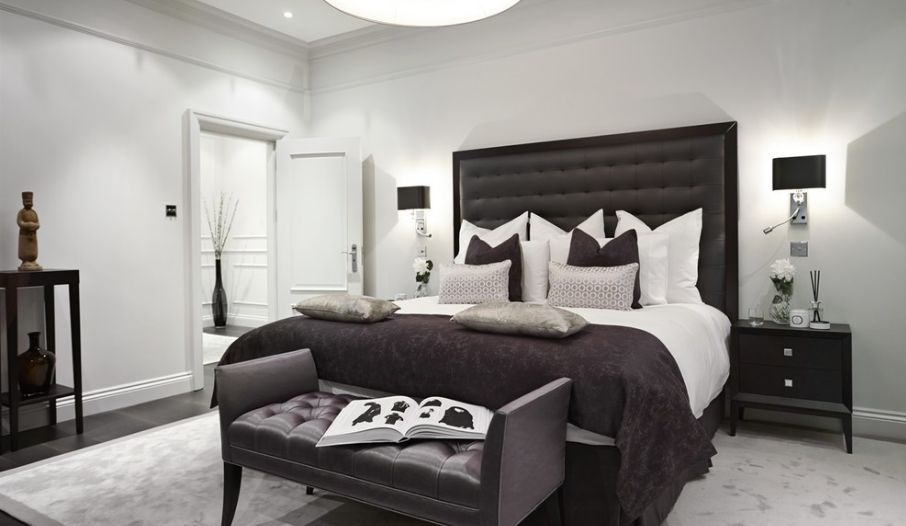 Wonderful Interior Decor Using White Wall also Gray Bedroom Furniture