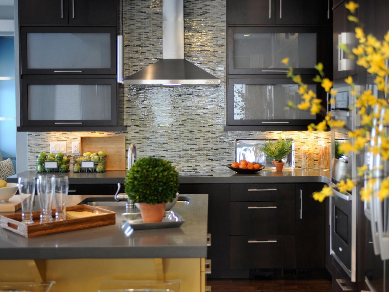 Wonderful Kitchen Design with Dark Counter and Cabinets near Grey Kitchen Tile Ideas and Stunning Range Hood