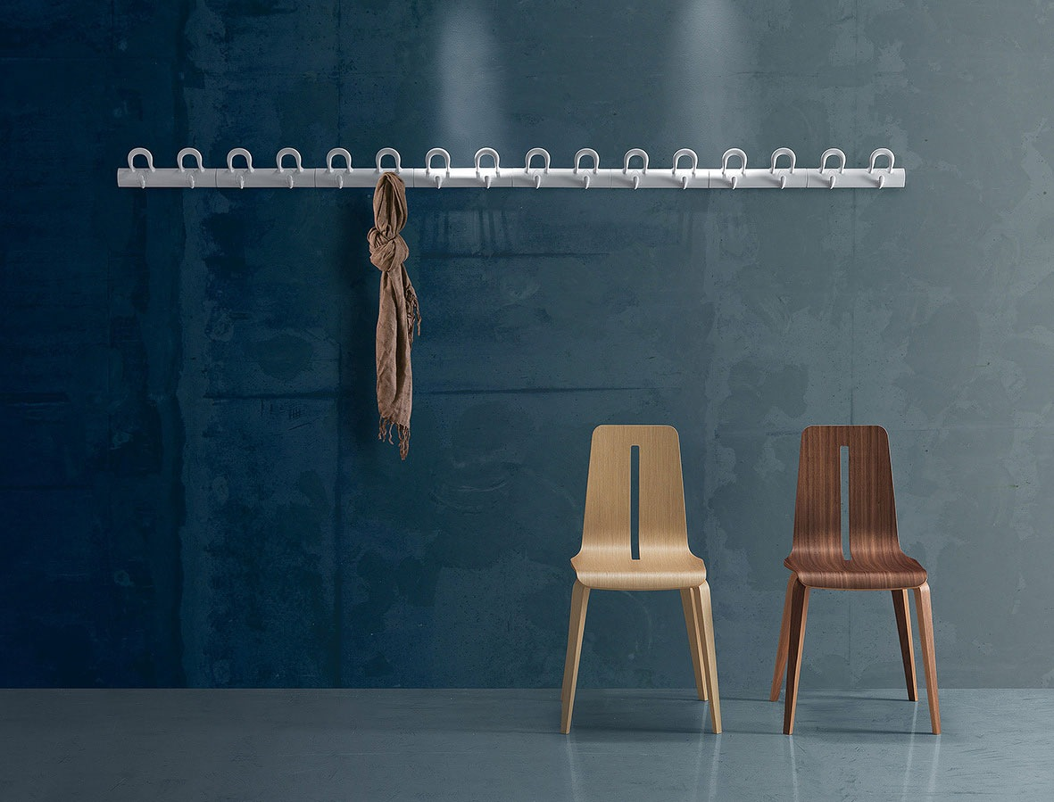 Wonderful Long Decorative Wall Hooks for Unusual Room with Wooden Chairs and Blue Concrete Wall