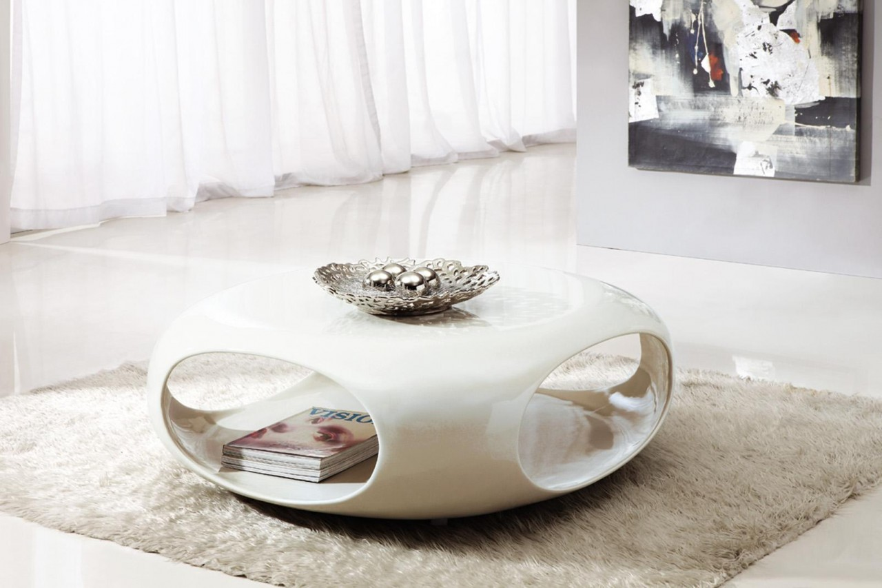Wonderful Small Coffee Table in White with lower Shelf for Stunning Room with Tile Flooring