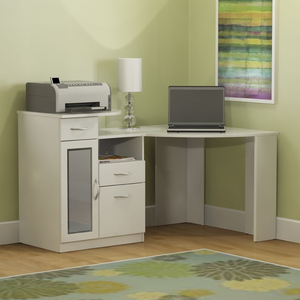 Wonderful Small White Desk in the Corner for Home Office with White Shaded Table Lamp