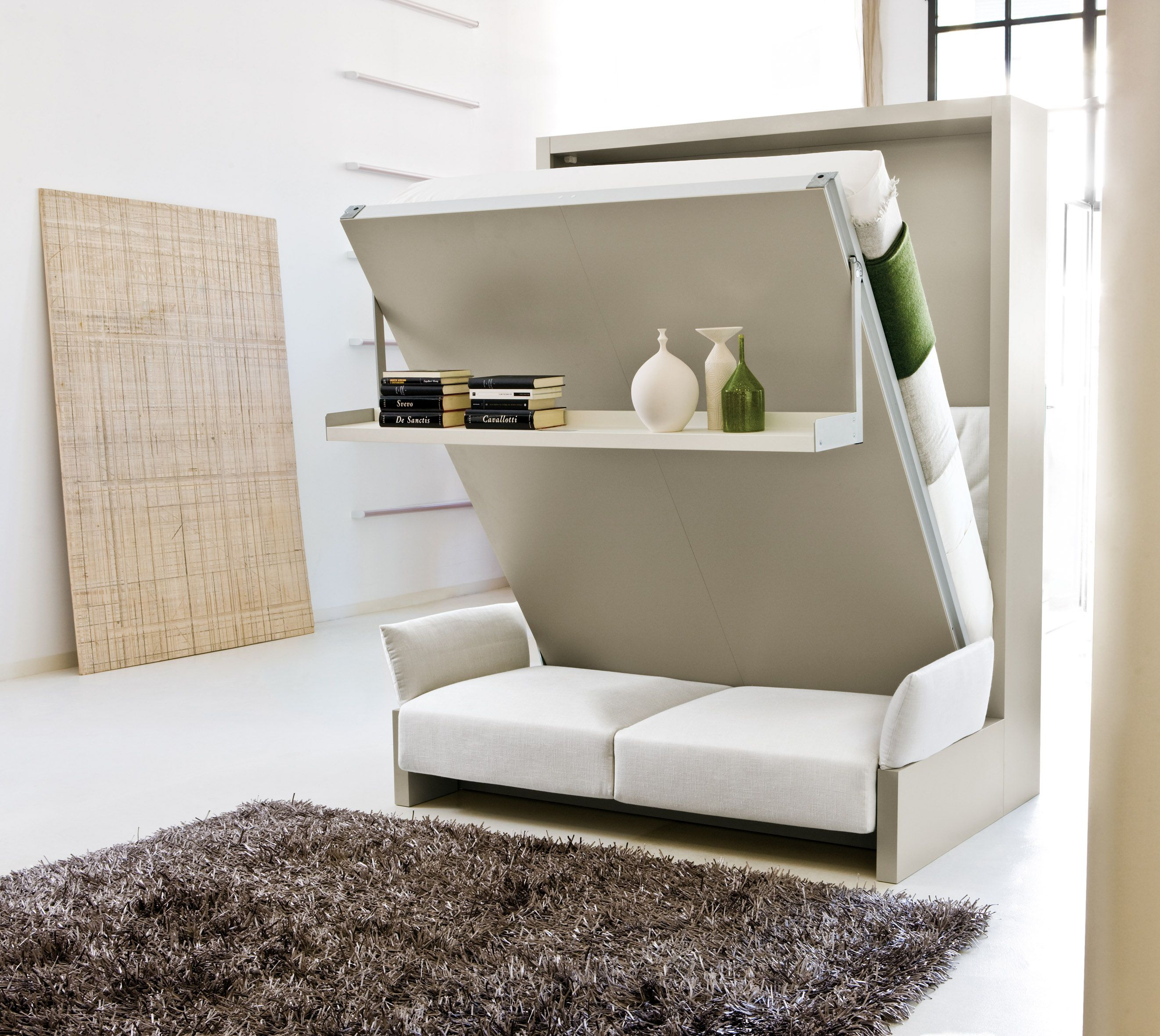 Wonderful Space Saving Beds Design for Small Bedroom with Grey Carpet Rug and White Tile Flooring