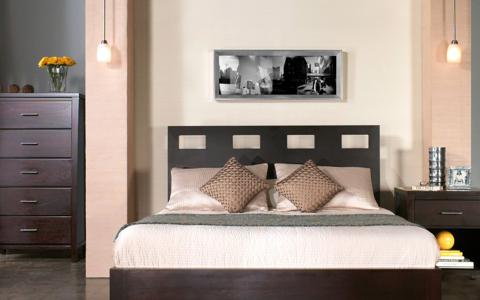 Wonderful Wall Art Completing Cozy Bedroom with Tiny Bedside Table Lamps and Dark Nightstand