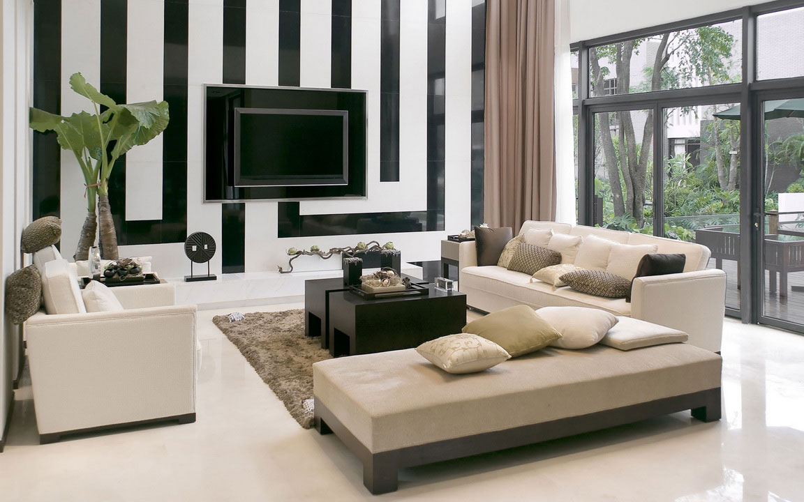 Wonderful Wall Details for Appealing Living Room Color Ideas facing Fluffy Sofas and Black Tables
