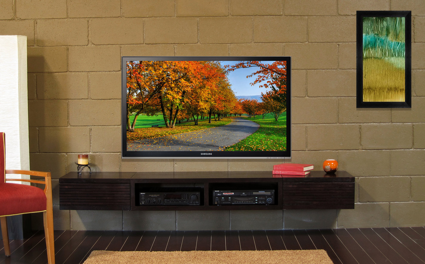 Wooden Chair and Long Wall Mount TV Stand Completing Awesome Living Room with Grey Stone Wall