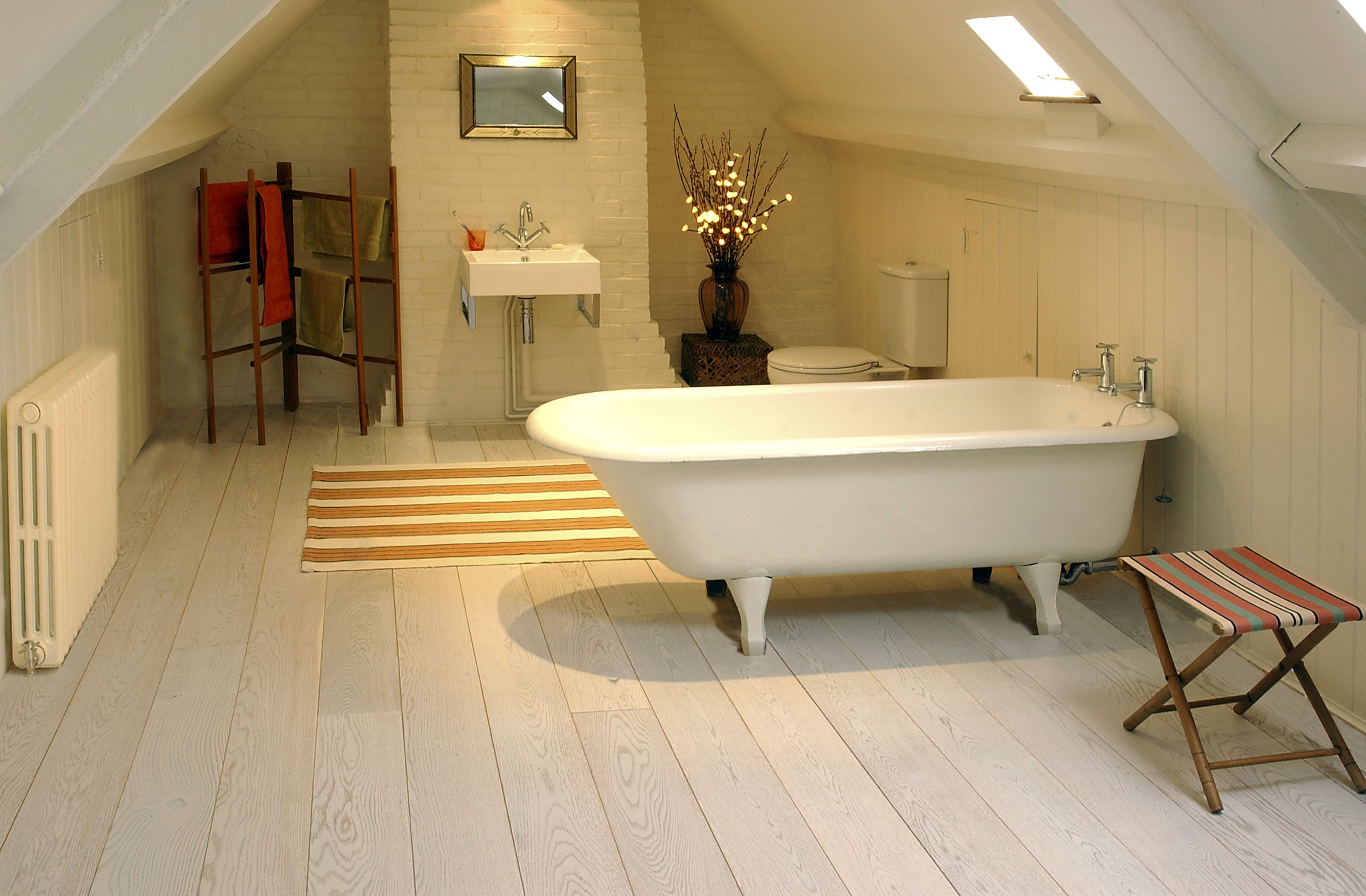 Wooden Flooring Ideas with Natural Bathroom Interior Design