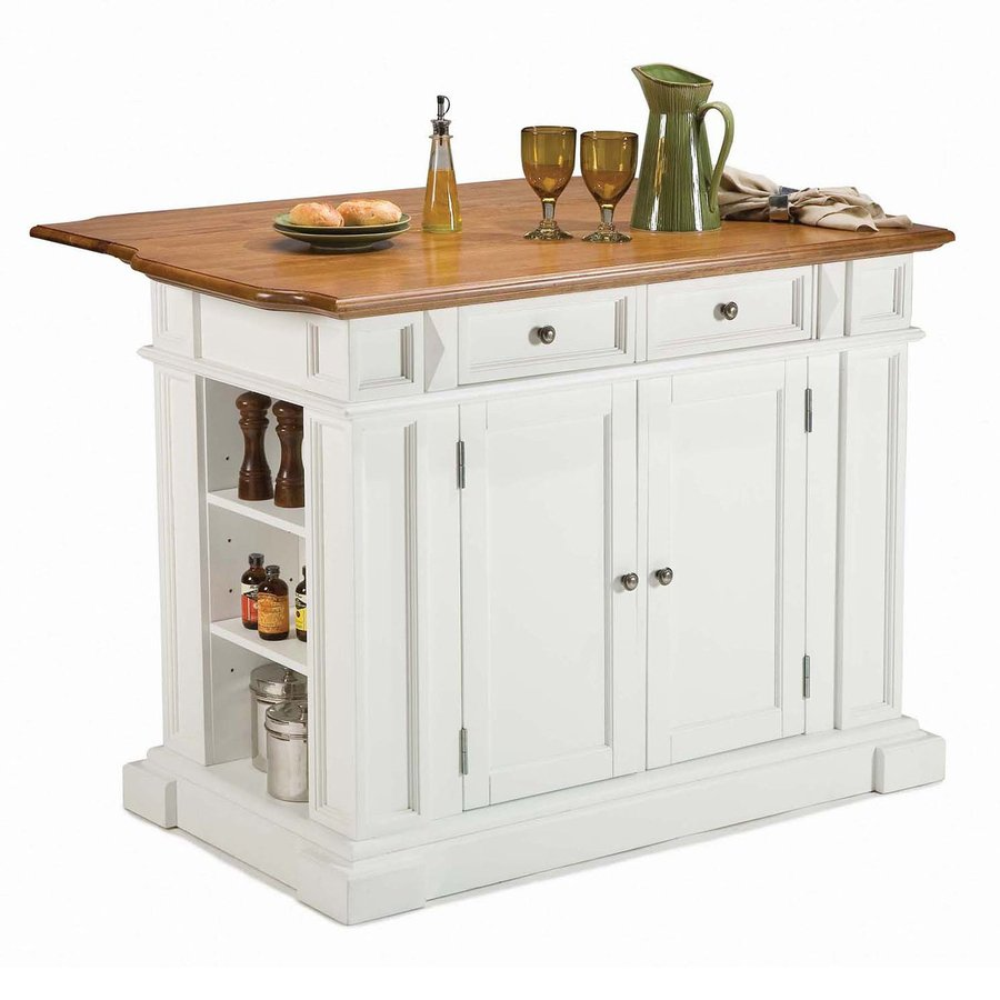 Wooden Top Completing White Kitchen Island with White Shelves and Drawers for Traditional Kitchen