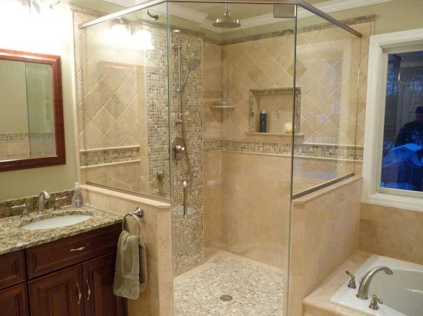 Wooden Vanity and Granite Top Placed beside Wide Walk in Shower Ideas inside Cozy Bathroom