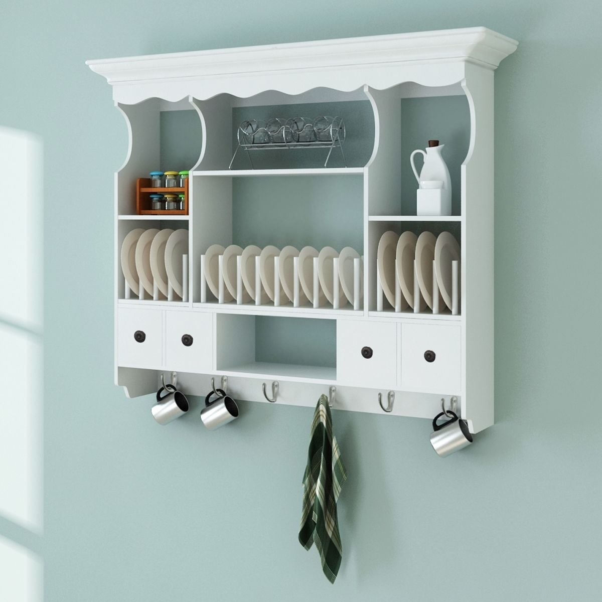 Wooden White Wall Shelves with Kitchen Cabinet Cupboard Storage