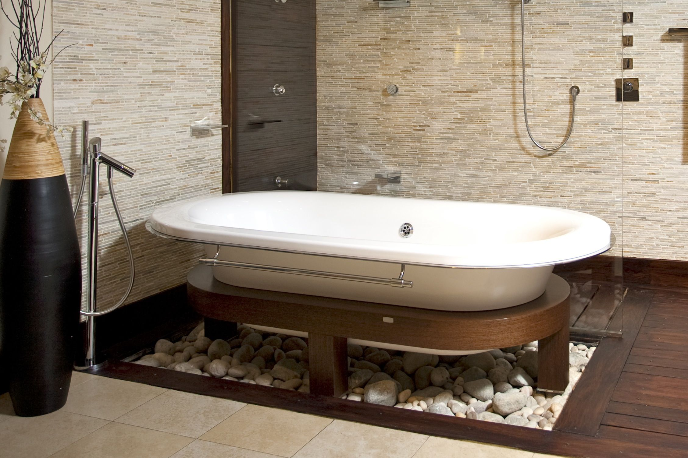 Wooden and Stone Bathroom Flooring Ideas
