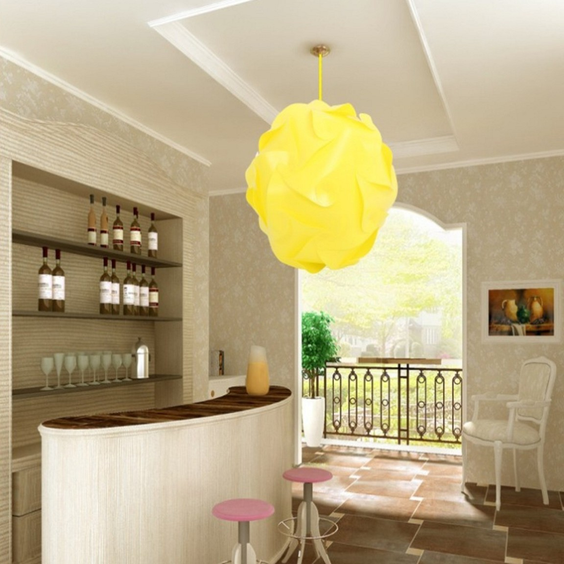 Yellow Pendant Light Shades Completing Old Fashioned Bar with High Bar Counter and Round Stools