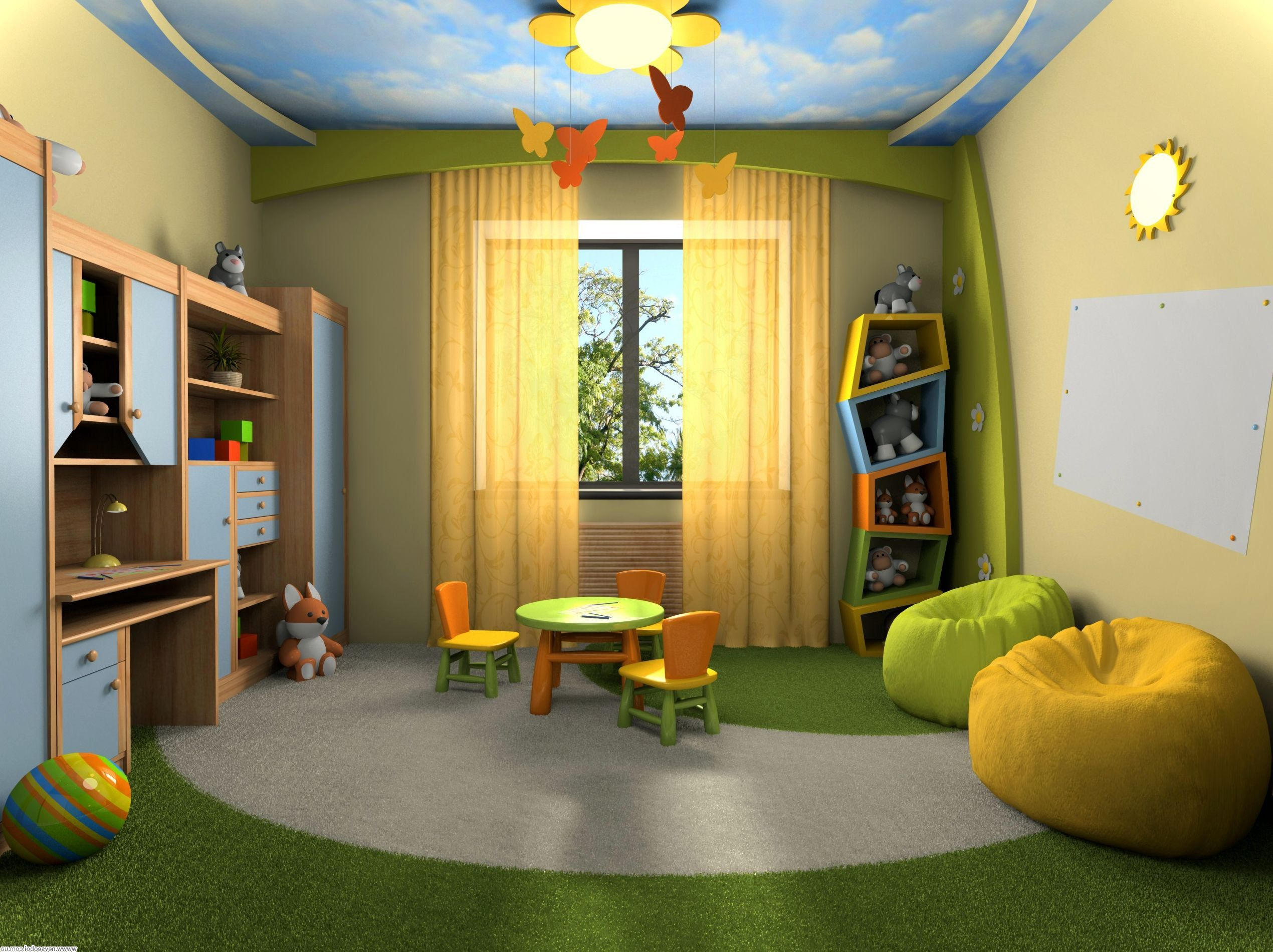 Yellow And Green Bean Bag Placed In Playroom Using Fun Boys Room Decor With Wooden Desk