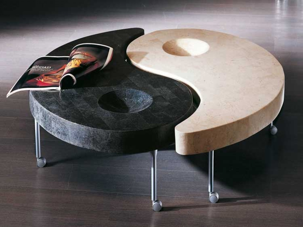 Yin and Yang Design for Unique Coffee Tables in Awesome Room with Laminate Oak Flooring