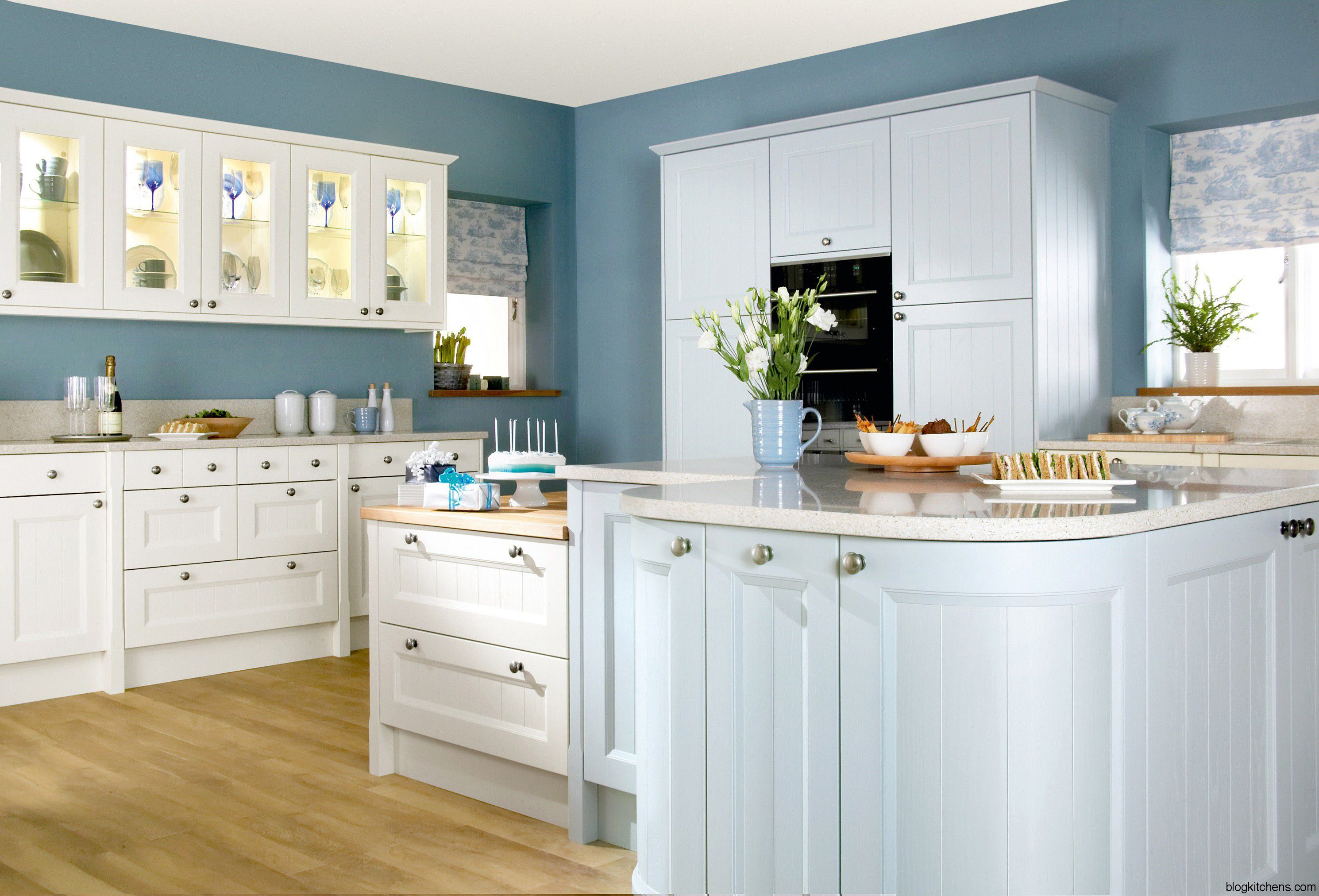 Adorable Design Of Kitchen Areas With Brown Wooden Floor And White And Blue Kitchen Cabinets Ideas