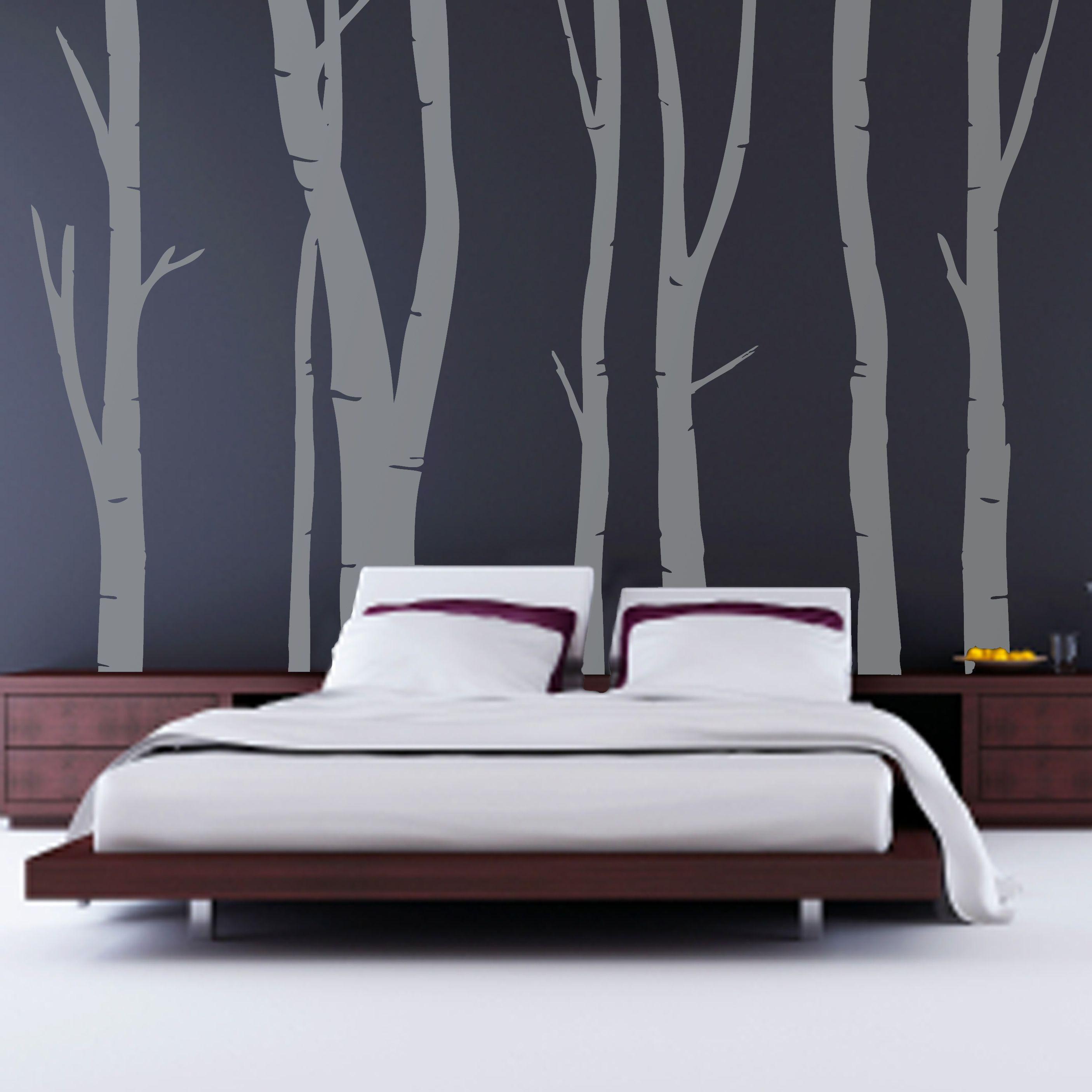 Adorable Design Of The Bedroom Areas With Brown Woodn Contemporary Bed With White Rugs And Trees Grey Wall Paint Ideas