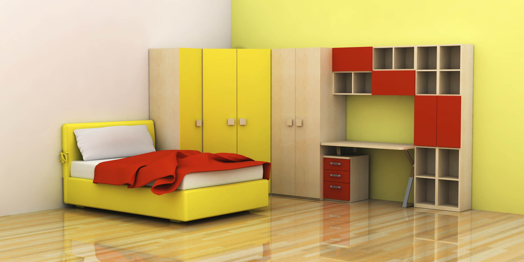 Attrayant Adorable Design Of The Bedroom Kids Areas With Yellow Wall With Brown  Wooden And Red Storage