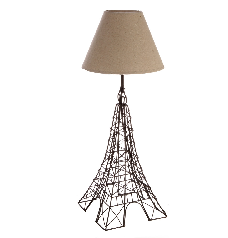 Adorable Design Of The Black Iron Eiffel Theme Tower Lamp Ideas With Brown Lamp Shade Ideas For Bedroom Areas