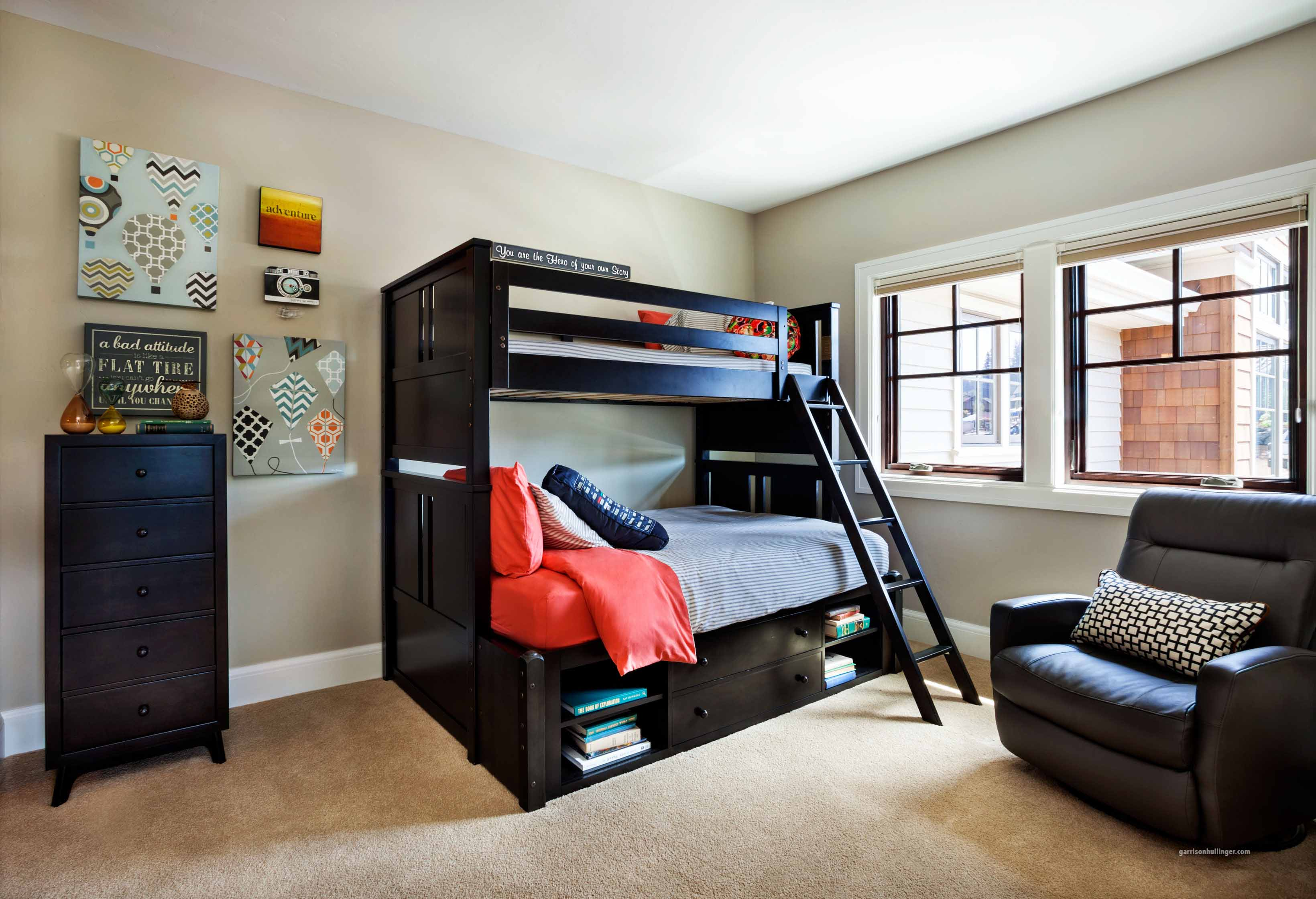 Superbe Adorable Design Of The Black Wooden Bunk Bed Ideas Added With Grey Wall And  Brown Leather. Sporty Boy Room Ideas. Boys Usually Like Something Masculine  ...