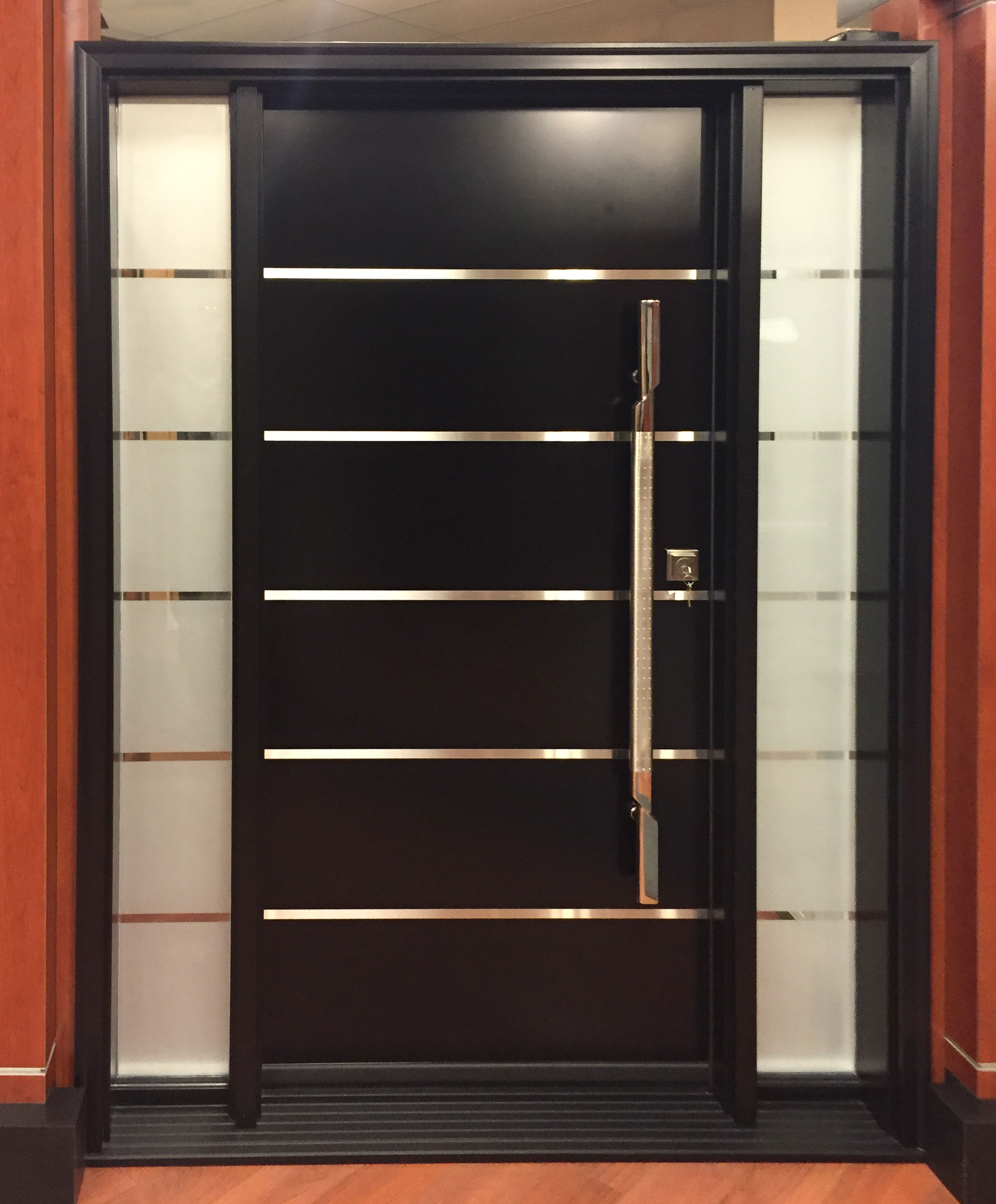 Adorable Design Of The Black Wooden Modern Front Doors With Shiny Knobs And Glass Windows Ideas
