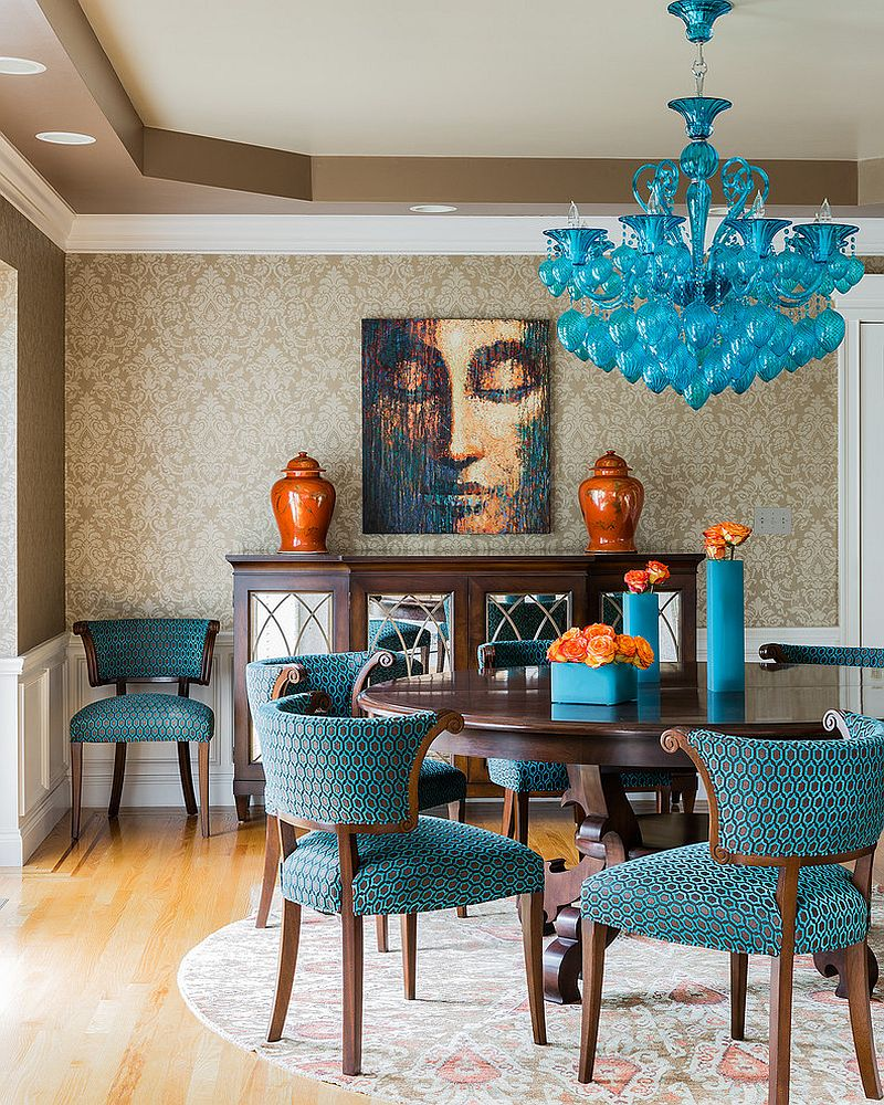 Adorable Design Of The Blue Dining Room With Brown Wooden Floor Ideas Added With Blue Fabric Chairs And Blue Hanging Pendant Lamp Ideas