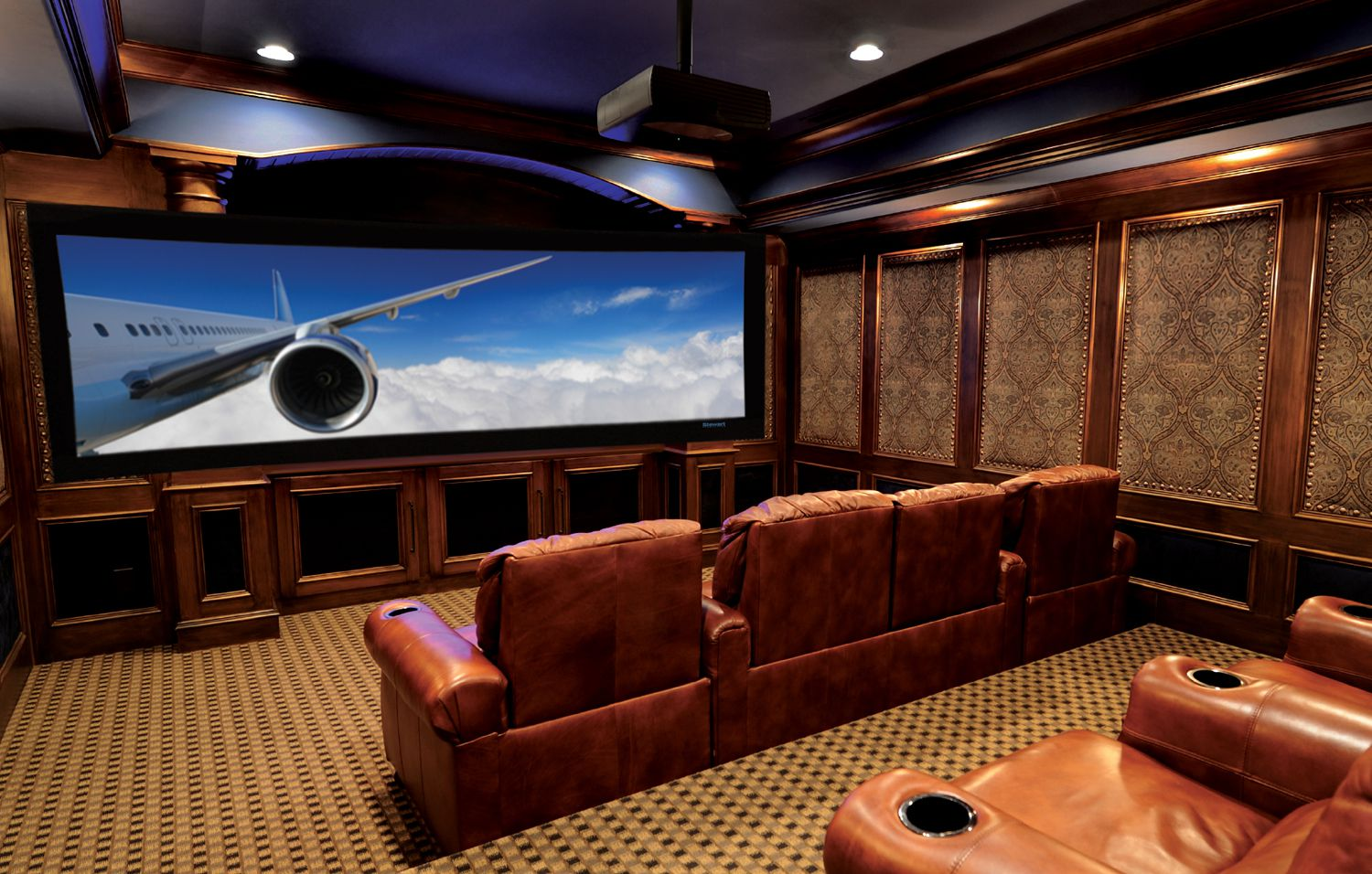 Adorable Design Of The Brown Floor Added With Brown Wall And Brown Leather Ideas As Movie Room Ideas