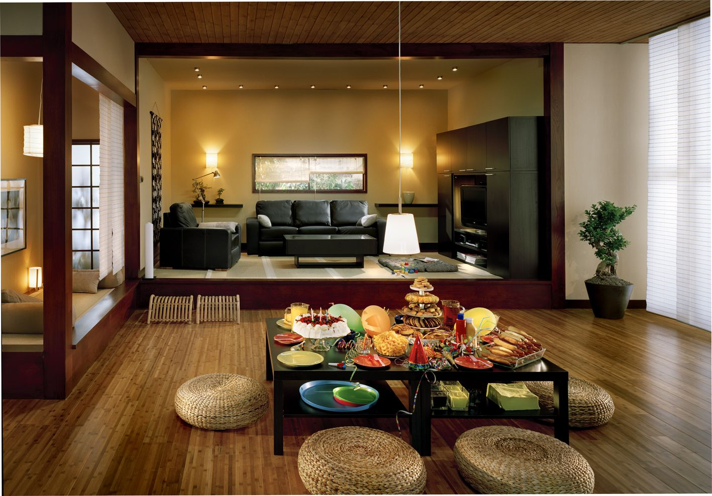Adorable Design Of The Brown Wall Added With Rattan Chairs Added With Brown Flooring As The Living Room Decoration